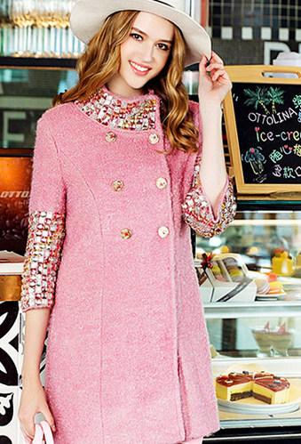 핑크큐빅 양모 퍼즐 코트 *** 해외수입 ***